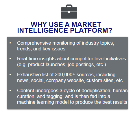 Why Use a Market Intelligence Platform? -Comprehensive Monitoring -Real-Time insights  -Exhaustive list of sources -Content undergoes a cycle of duplication, human curation, and tagging before being fed into a machine learning model to produce the best results